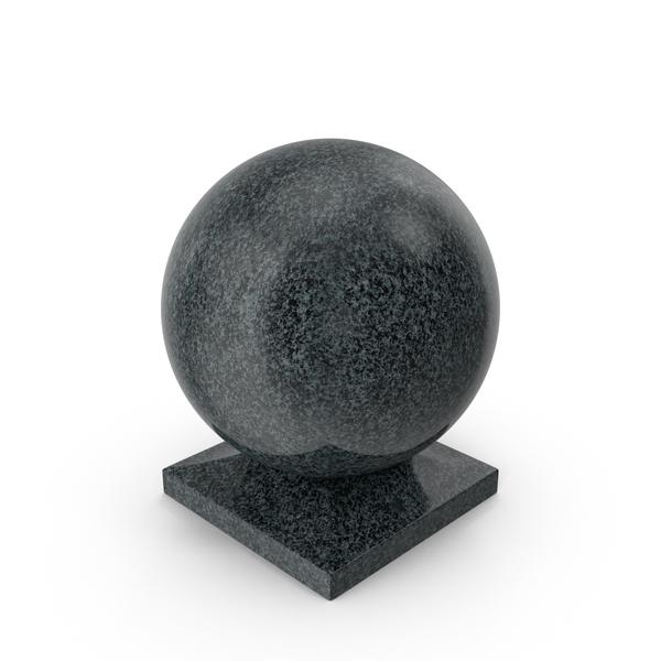 General Decor: Granite Ball on Square Base Black PNG & PSD Images