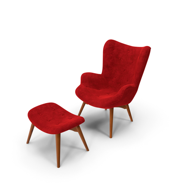 Grant Featherston Contour Style Wing Chair Velvet PNG & PSD Images