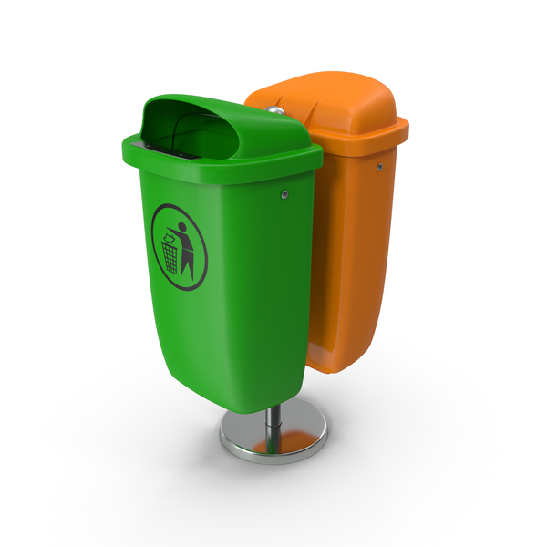 Street Bin: Green and Orange Plastic Public Trash Cans PNG & PSD Images