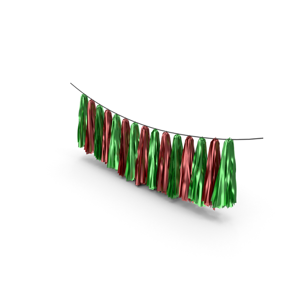 Christmas Wreath: Green and Red Tassel Garland PNG & PSD Images
