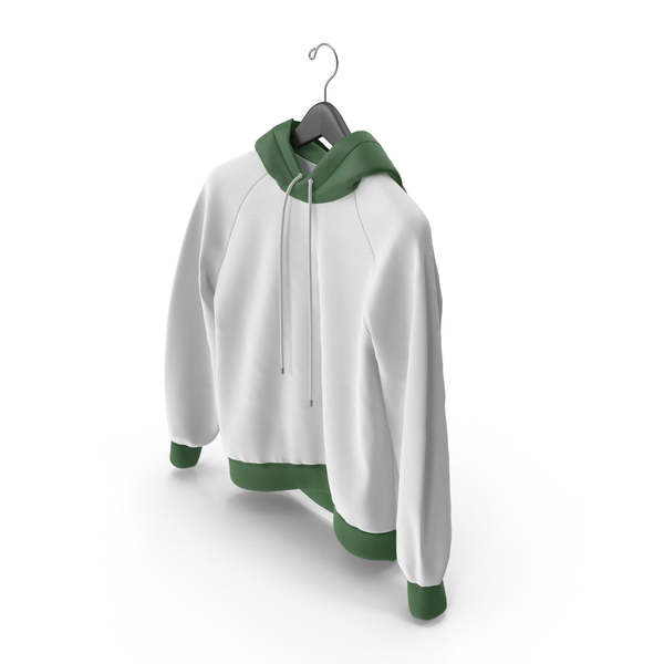 Green and White Hoodie with Hanger PNG & PSD Images
