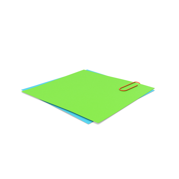 Green & Blue Papers With Paper Clip PNG & PSD Images