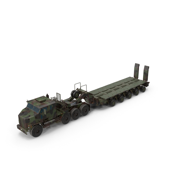 Green Oshkosh M1070 Truck With M1000 Semi-Trailer PNG & PSD Images