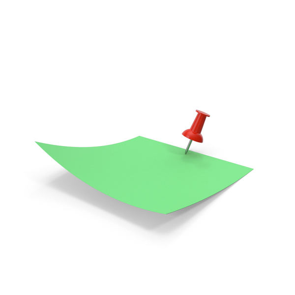 Sticky Note: Green Paper with Red Pin PNG & PSD Images