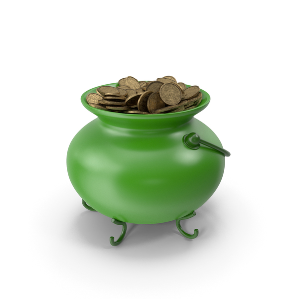 Treasure: Green Pot With Coins PNG & PSD Images