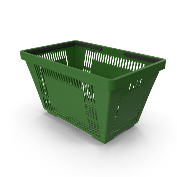 Green Shopping Basket with Plastic Handles PNG & PSD Images