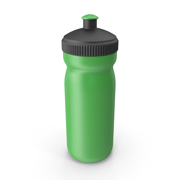 Green Sport Bottle with Black Cap PNG & PSD Images