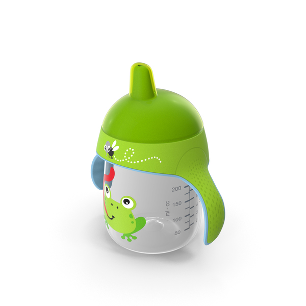Baby Bottle: Green Spout Cup with Handles PNG & PSD Images