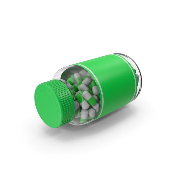 Medicine: Green Tablet Bottle PNG & PSD Images