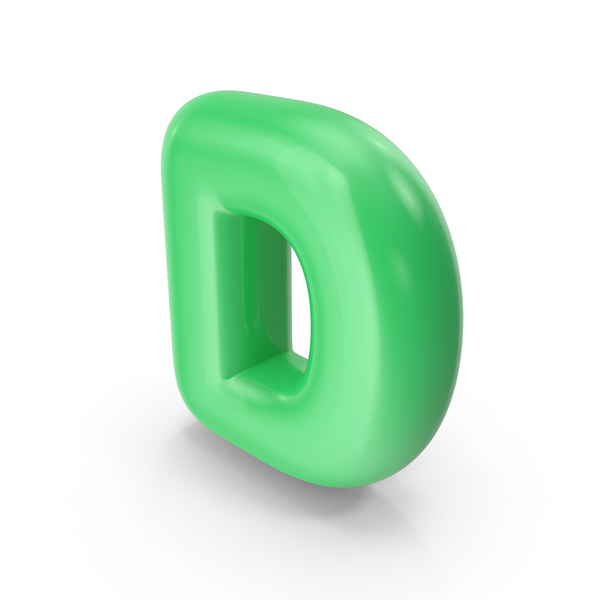 Green Toon Balloon Letter D PNG & PSD Images