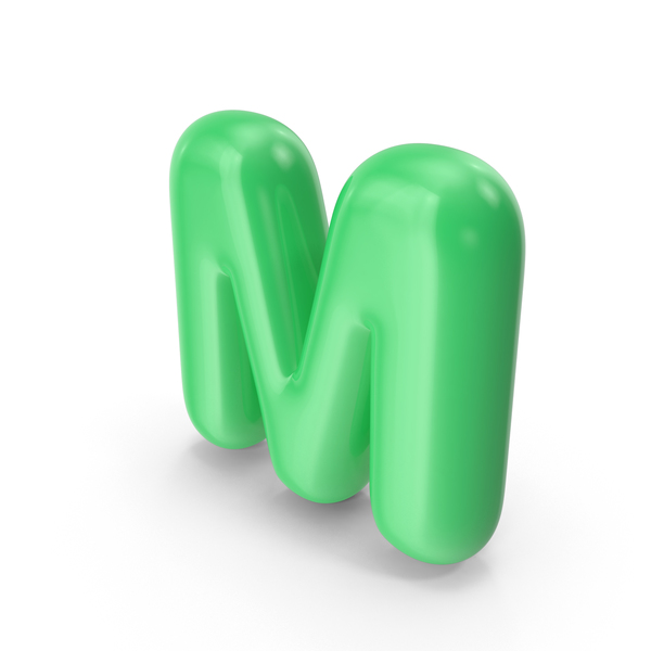 Green Toon Balloon Letter M PNG & PSD Images