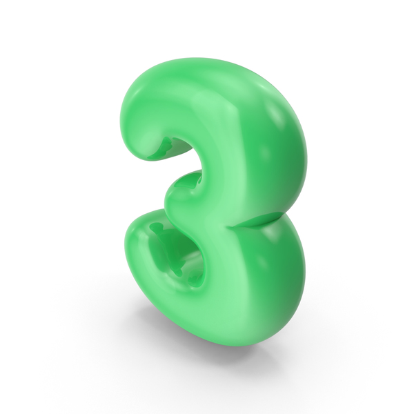 Green Toon Balloon Number 3 PNG & PSD Images