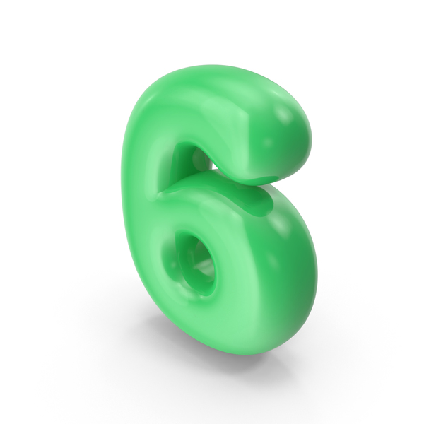 Green Toon Balloon Number 6 PNG & PSD Images