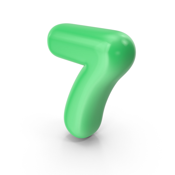 Green Toon Balloon Number 7 PNG & PSD Images