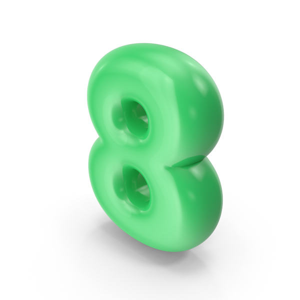 Green Toon Balloon Number 8 PNG & PSD Images