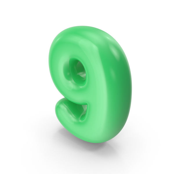 Green Toon Balloon Number 9 PNG & PSD Images