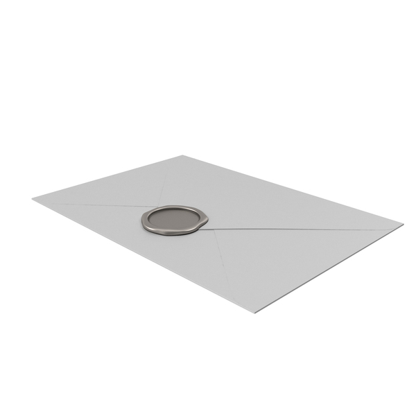 Grey Envelope with Silver Wax Seal PNG & PSD Images