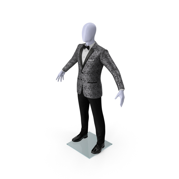 Grey Patterned Tuxedo Suit PNG & PSD Images