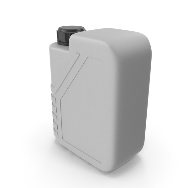 Fuel Can: Grey Plastic Jerrycan with Black Cap PNG & PSD Images