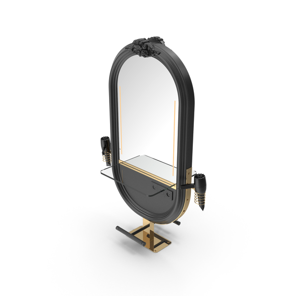 Hairdresser Table Mirror Black Gold PNG & PSD Images
