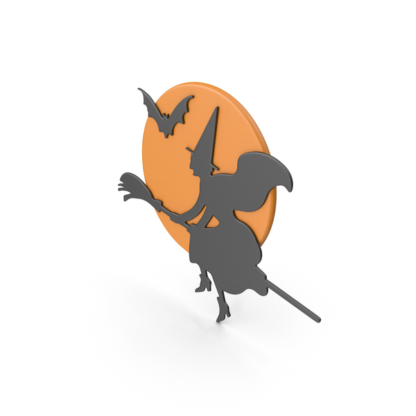 Banner: Halloween Symbol  Black Wicked Witch Flying Orange Moon PNG & PSD Images