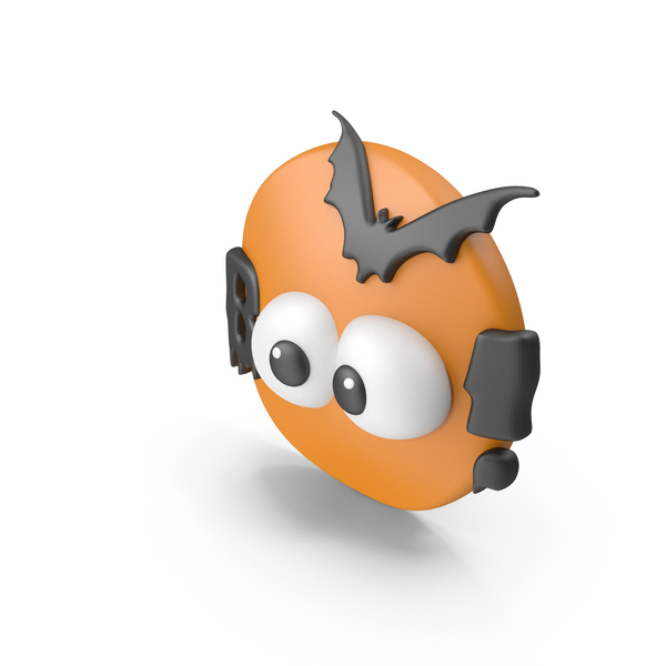 Banner: Halloween Symbol Boo! with Orange Moon and Batman and Eyes PNG & PSD Images