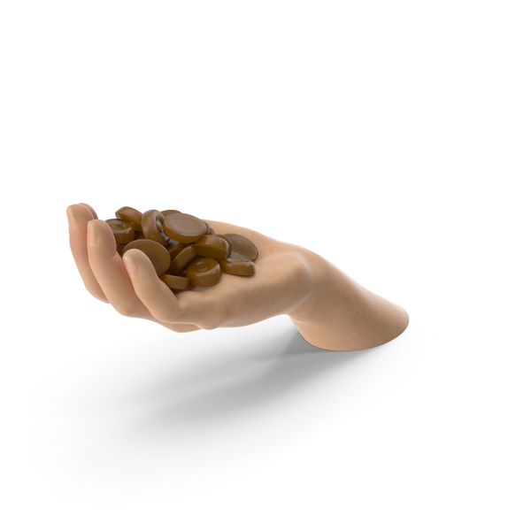 Gestures: Hand Handful with Caramel Oval Hard Candy PNG & PSD Images