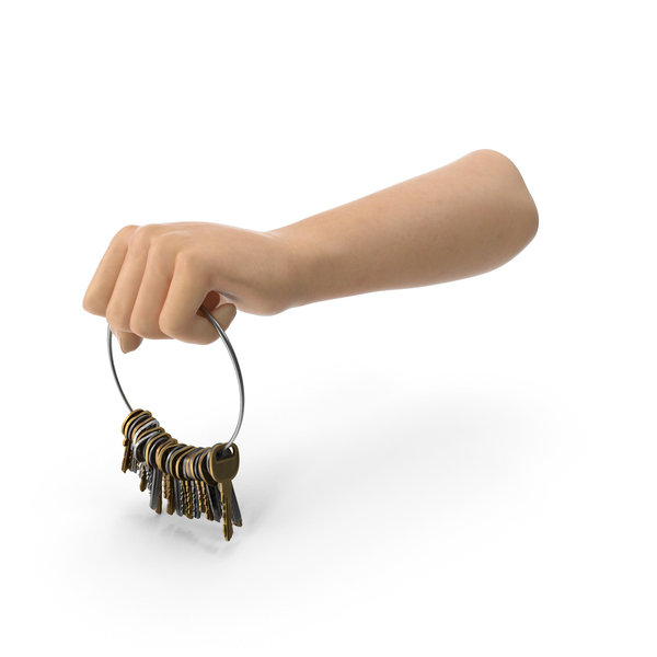 Hand Holding a Big Key Chain Ring PNG & PSD Images