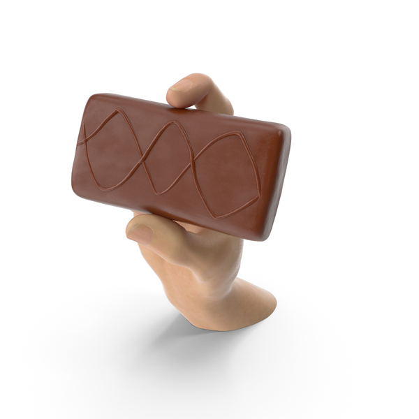 Hand Holding a Sponge Cake Covered in Crisp Chocolate PNG & PSD Images