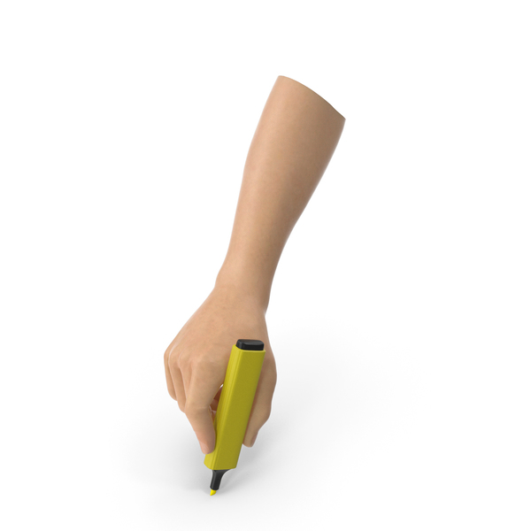 Highlighter: Hand Holding a Yellow Highlight Marker PNG & PSD Images