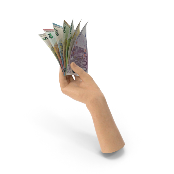 Hand Holding Euro Banknote Bills PNG & PSD Images
