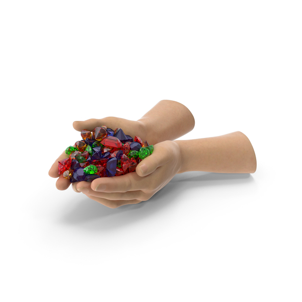 Hand Holding Mixed Gems PNG & PSD Images