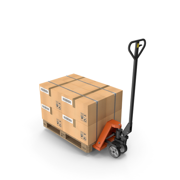 Jack: Hand Pallet Truck with Boxes PNG & PSD Images
