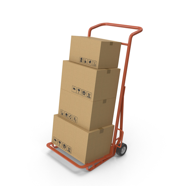 Hand Truck With Boxes PNG & PSD Images