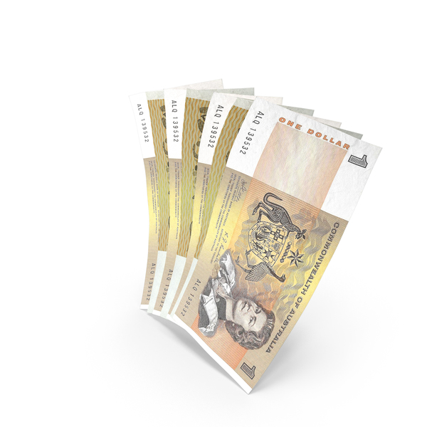 Handful of 1 Australian Dollar Banknote Bills PNG & PSD Images