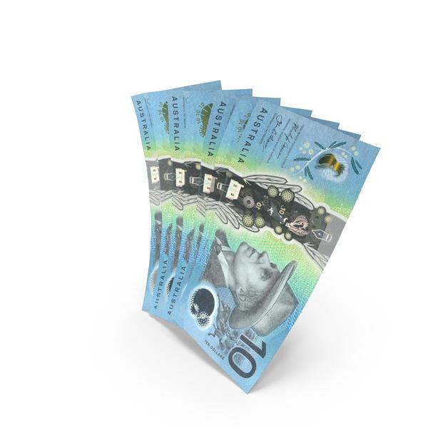 Handful of 10 Australian Dollar Banknote Bills PNG & PSD Images