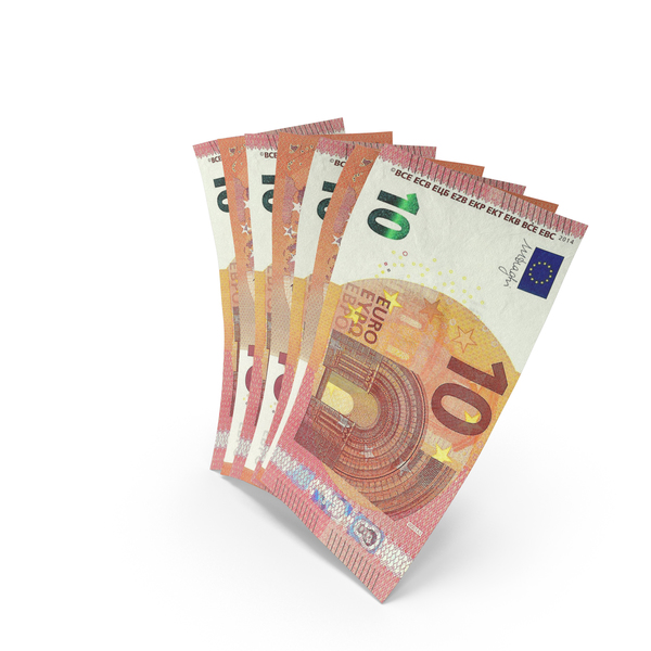 Handful of 10 Euro Banknote Bills PNG & PSD Images