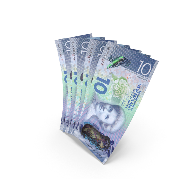 Handful of 10 New Zealand Dollar Banknote Bills PNG & PSD Images