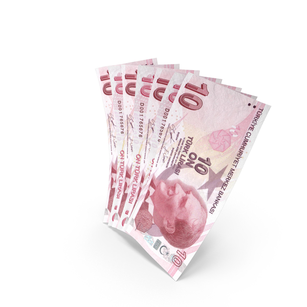 Handful of 10 Turkish Lira Banknote Bills PNG & PSD Images