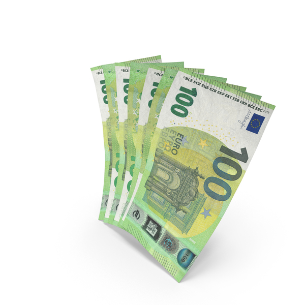 Handful of 100 Euro Banknote Bills PNG & PSD Images