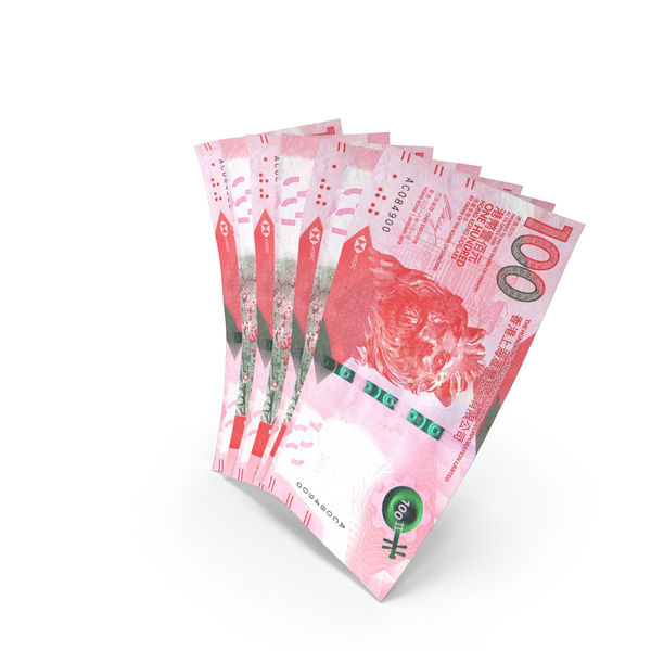 Handful of 100 Hong Kong Dollar Banknote Bills PNG & PSD Images