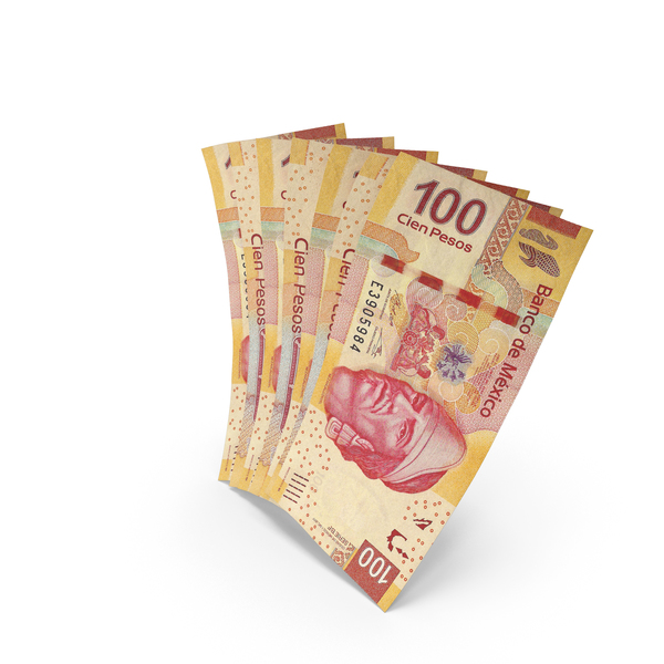 Handful of 100 Mexican Peso Banknote Bills PNG & PSD Images