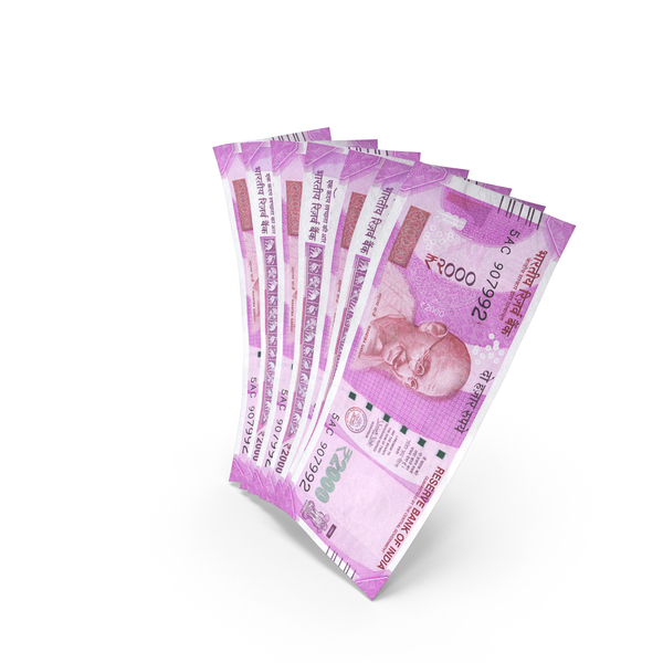 Handful of 1000 Indian Rupee Banknote Bills PNG & PSD Images