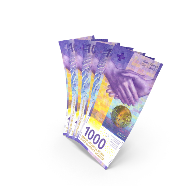Handful of 1000 Swiss Franc Banknote Bills PNG & PSD Images
