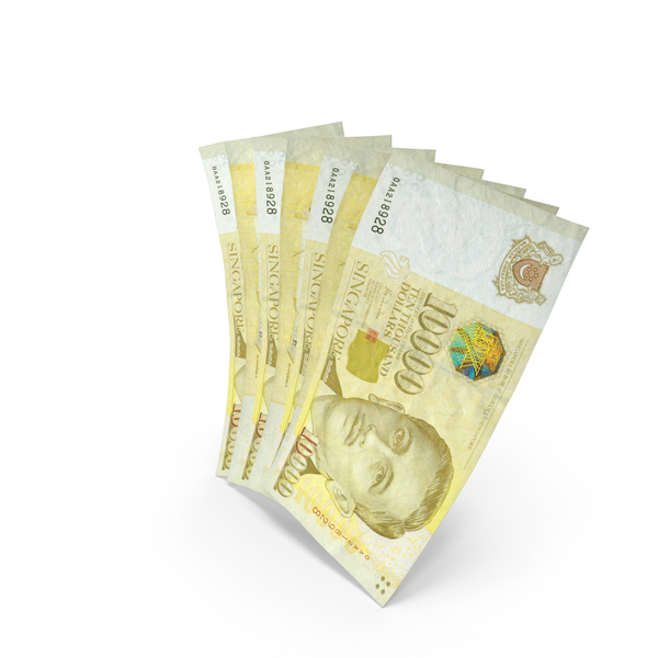 Yen: Handful of 10000 Singapore Dollar Banknote Bills PNG & PSD Images