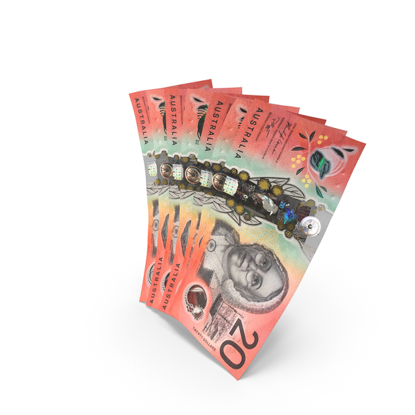 Handful of 20 Australian Dollar Banknote Bills PNG & PSD Images