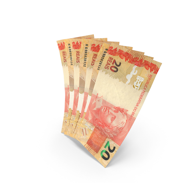 Handful of 20 Brazilian Real Banknote Bills PNG & PSD Images