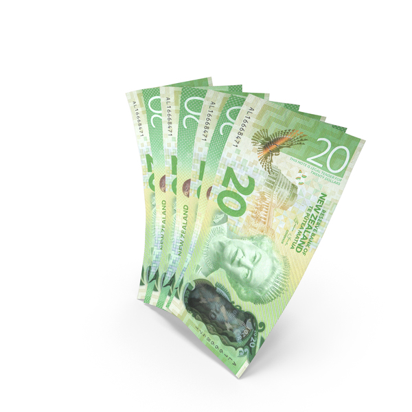 Handful of 20 New Zealand Dollar Banknote Bills PNG & PSD Images