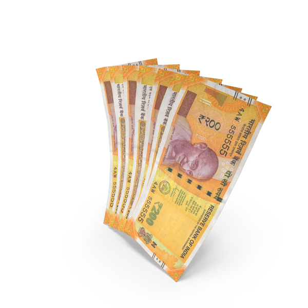 Handful of 200 Indian Rupee Banknote Bills PNG & PSD Images