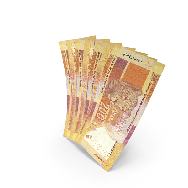 Banknote: Handful of 200 South African Rand Bills PNG & PSD Images